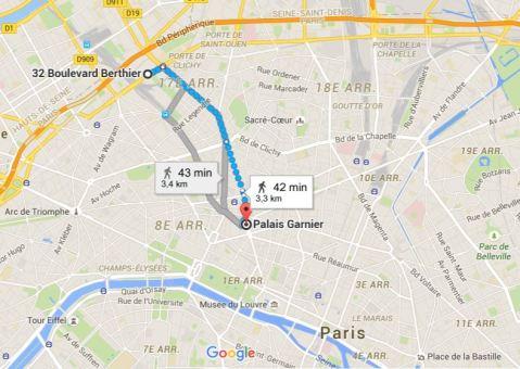 Trajet Ateliers Berthier Opéra Garnier